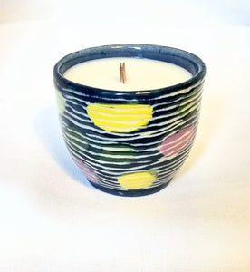 Dark Blue Medium sized Dendron pattern candle in a Sage Lavender Scent