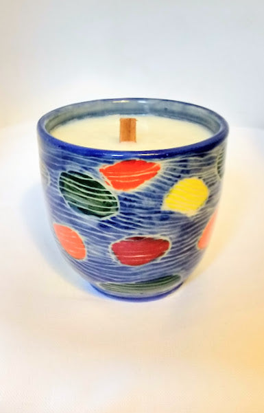 Large Blue Candle in Dendron Pattern and Beach Scent