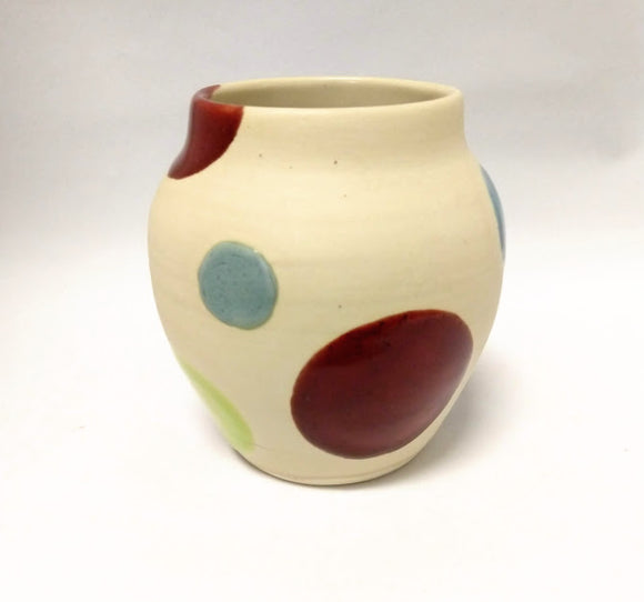 Red and Blue Spotty Vase
