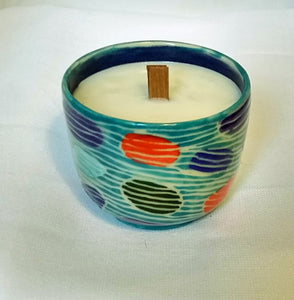 Turquoise Dendron Pattern Candle in Linen Scent