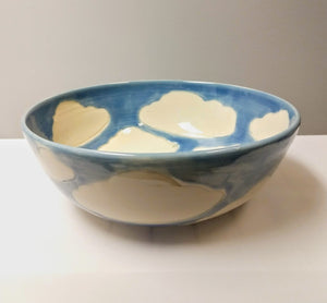 Large Salad Serving Bowl in Cloud Pattern