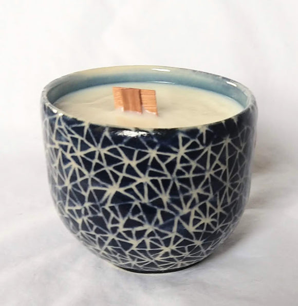 Candle in cup in Blue broken triangle pattern