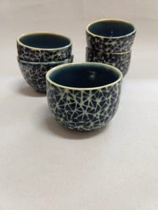 Broken Triangle Tea Bowls in Blue