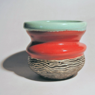 Colour Block Vessel in Faux Celedon, Red and Faux Bois