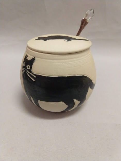 Cat and Mouse Honey, Jam or Mustard Pot