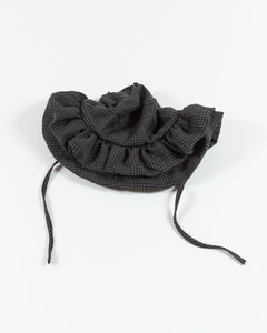 Ruffle Brim Hat - Charcoal Check