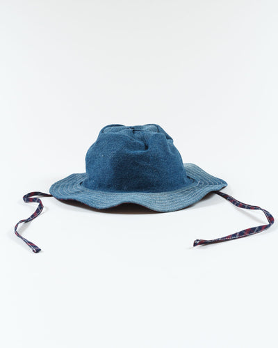 Wave Brim Hat - Denim & Check