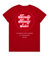 Load image into Gallery viewer, DEADLY BEAUTY SALON TEE RED