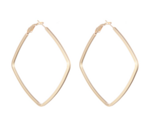 Square Shaped Hoop Earring - Gold