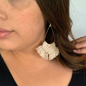 Tassel Braided Earrings - Ivory