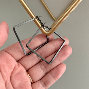 Square Shaped Hoop Earring - Gun Metal