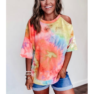 Tie Dye Cold Shoulder Tee