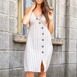 Ivory Stripes Button Down Midi Dress