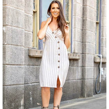 Load image into Gallery viewer, Ivory Stripes Button Down Midi Dress