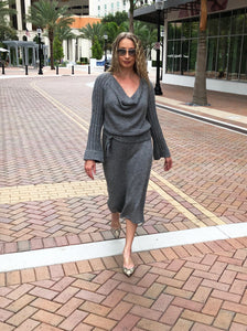 Draped Cowl Neck Dress with Silver Blend