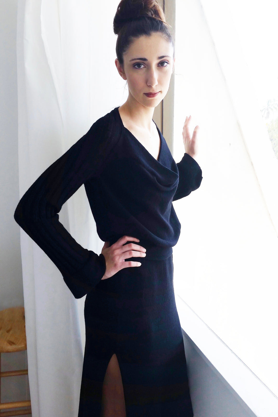 Draped Cowl Neck Dress
