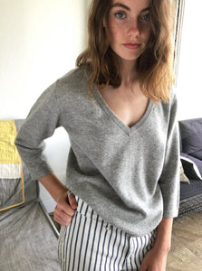 Bracelet Sleeve V-Neck Sweater