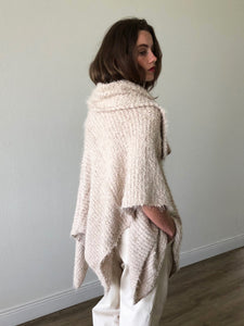 Oversized Collar Asymmetrical Poncho