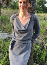 Load image into Gallery viewer, Draped Cowl Neck Dress with Silver Blend