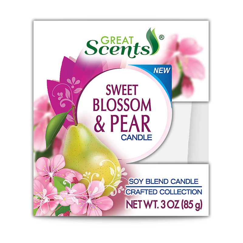 Great Scents Soy Candle - Sweet Blossom & Pear 3 Oz.