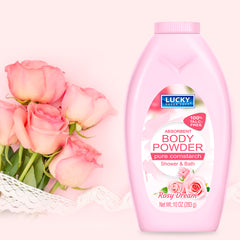 Lucky Super Soft Body Powder - Cornstarch - Rosy Dream 10 oz.