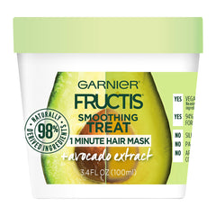 Garnier Fructis Smoothing Treat 1 Minute Hair Mask with Avocado Extract, 3.4 Fl Oz