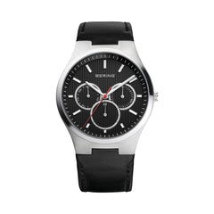 Bering Time Classic Silver Steel with Black Leather Strap Men's Watch. 13841-404