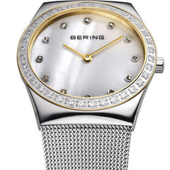 Bering Time Classic Collection Polished Silver Stainless Steel Case with White Milanese Strap, White Dial and Swarovski Elements Women's Watch - 12430-010