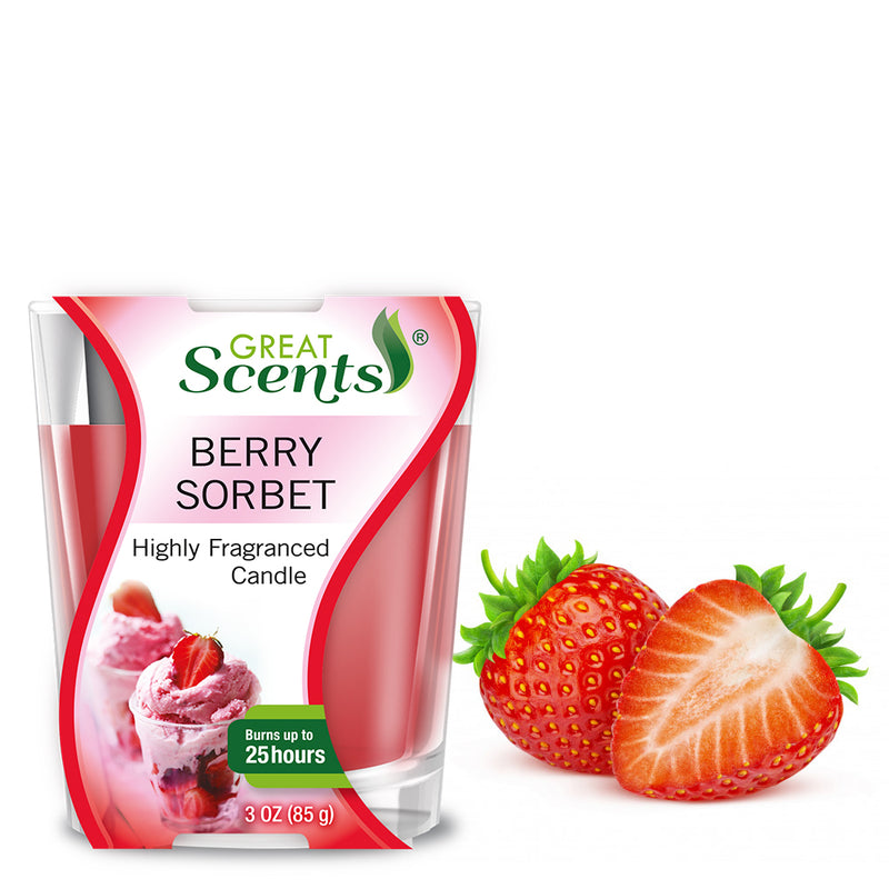 Great Scents Scented Candle - Berry Sorbet 3 Oz