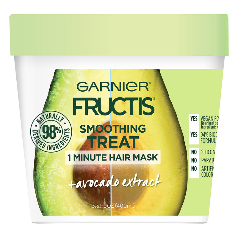 Garnier Fructis Smoothing Treat 1 Minute Hair Mask with Avocado Extract, 13.5 Fl Oz