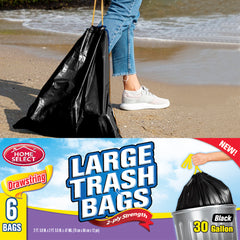 Home Select Drawstring Trash Bags - Extra Large Trash Bags - Black - 30 gal 6 ct.