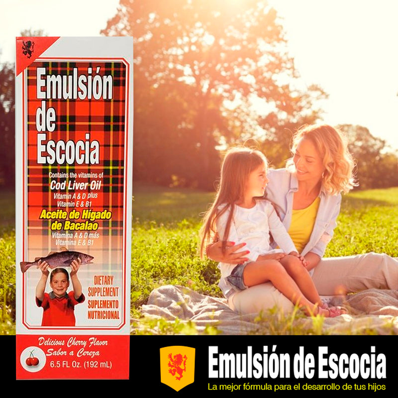 Emulsion de Escocia Vitamins A, D, E and B1 Cherry 6.5 Fl Oz / 192 mL.