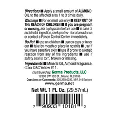 Germa Natural Almond Oil, Emollient/Aceite de Almendras Natural, Emoliente. 1oz.