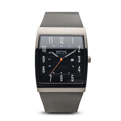 Bering Time Slim Solar Collection Polished Grey stainless steel case and Grey Milanese Strap Men's Watch - 16433-377