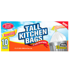 Home Select Drawstring Trash Bags - Tall Kitchen Bags - White  - 13 gal. 10 ct.