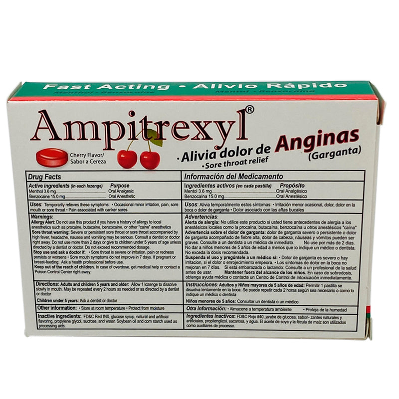 Ampitrexyl Sore Throat Fast Acting Relief Cherry Flavor 18 Lozenges