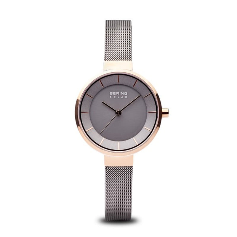 Bering Time Slim Solar Collection Roségold Glänzend Stainless Steel and Grey Milanese Strap Solar Women's Watch - 14631-369