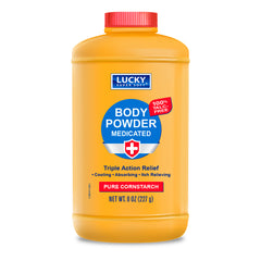 Lucky Super Soft Body Powder - Medicated Cornstarch Powder 8 Oz.