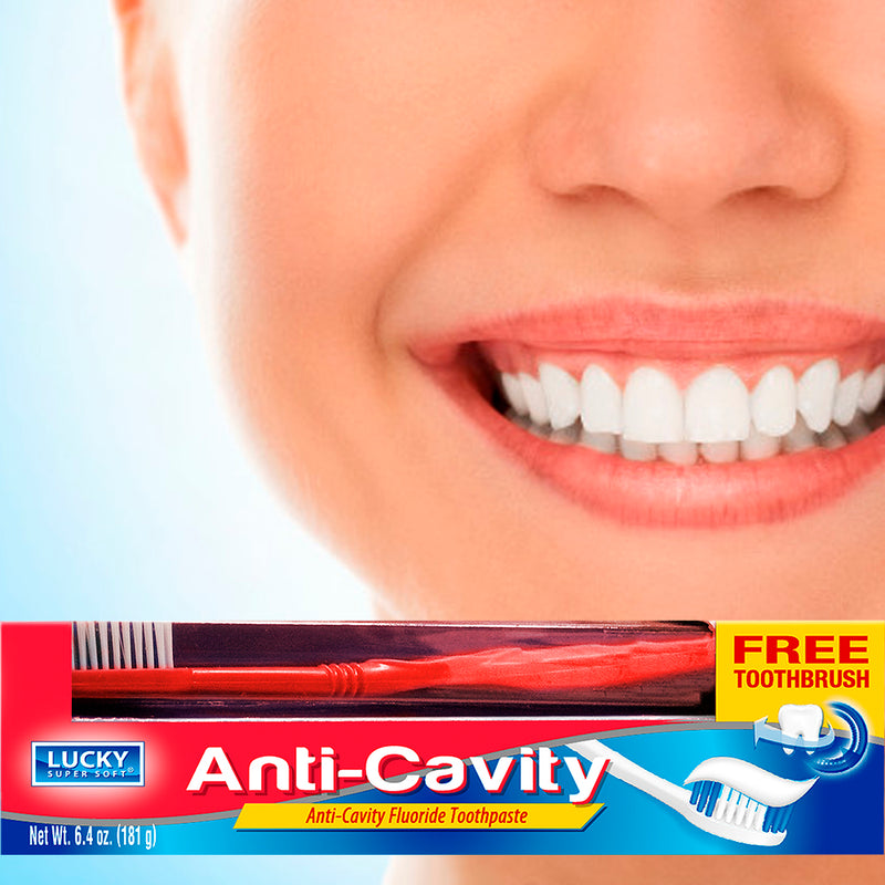 Lucky Super Soft Toothpaste W/Toothbrush - Anti-Cavity - 2/12/6.4 Oz.