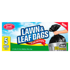 Home Select Trash Bags - Lawn & Leaf Bags - Black - 39 gal 5 ct.