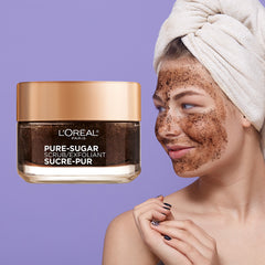 L'oreal Paris Skin Care Pure Sugar Face Scrub With Kona Coffee To Instantly Resurface & Energize for Soft Glowing Skin, 1.7 Ounce