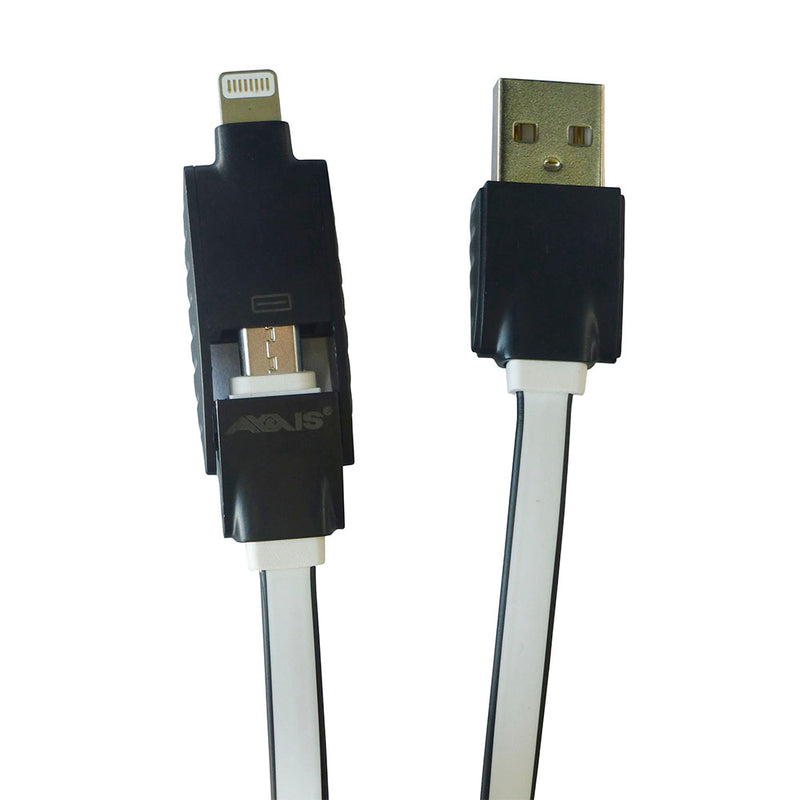 Axxis Cable Flat Usb 2 in 1 to Micro USB & Lighting 3ft / 1 Meter for Smartphone and Mobile Devices Black/White.