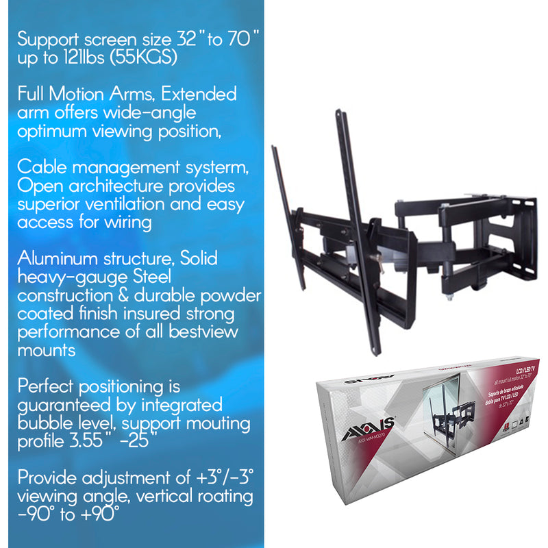 "Axxis TV Wall Mount Full Motion 32"" to 70"" VESA 100x100 to 600x400"