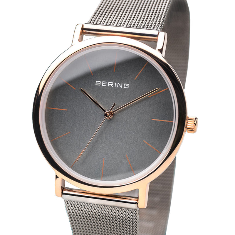 Bering Time Classic Collection Roségold Glänzend Stainless Steel Case and Grey Milanese Strap, Grey Dial with Rose Gold Hands Women's Watch - 13436-369