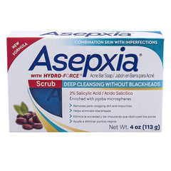 Asepxia Scrub Deep Cleansing Bar, Jabon With Hydro-Force 4oz.