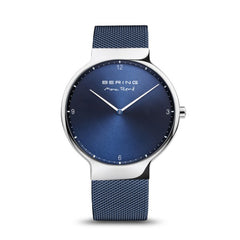 Bering Time Max René Polished Silver Stainless Steel Case with Blue Milanese Strap and Blue Dial Men's Watch - 15540-307