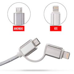 Axxis Cable Usb 2 in 1 to Micro USB / Lighting 5ft / 1.5 Meters for Smartphone and Mobile Devices Silver.