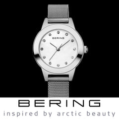 Bering Time Classic Collection Polished Silver Stainless Steel Case and Silver Milanese Strap, White Dial with Swarovski Elements Women's Watch - 11125-000