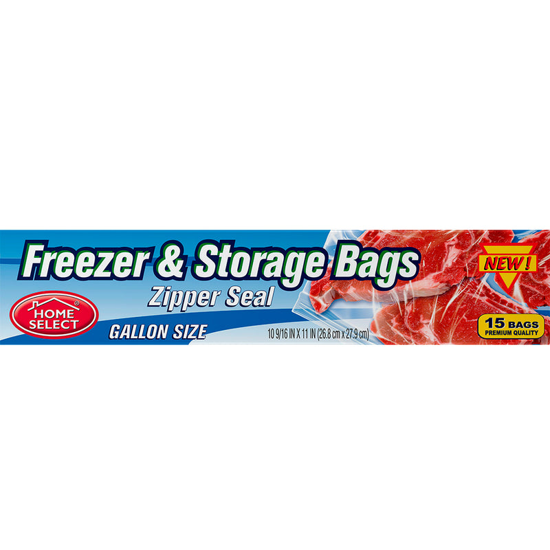 Home Select Freezer & Storage Bags - Zipper Seal - Gallon Size 15 ct.