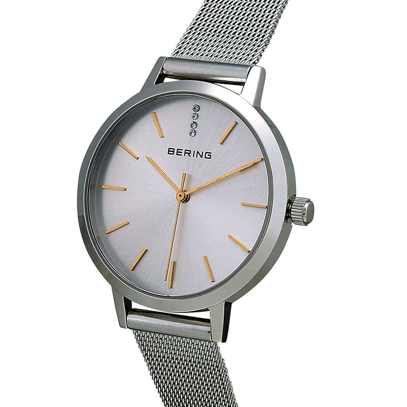 Bering Time Classic Collection Polished Silver Stainless Steel Case and Silver Milanese Strap with Silver Dial Women's Watch - 13434-001